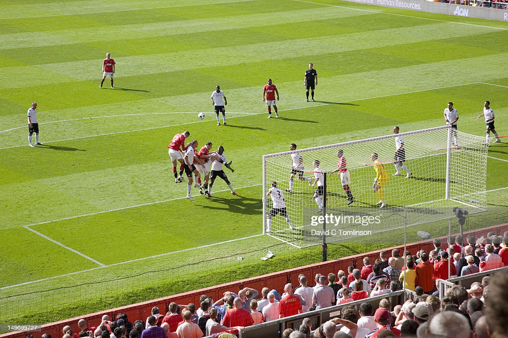 Goal mouth action during English Premiership football match between Manchester United and Fulham, Old Trafford. : Stock Photo