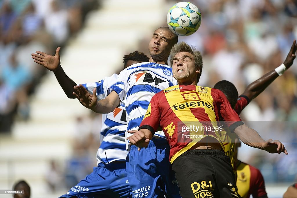 Goal of Carlos Diogo of KAA Gent scoring 2-1 during the Jupiler League match between KAA Gent and KV Mechelen on August 04, 2013 in the Ghelamco stadium Gent, Belgium. (Photo by Nico Vereecken / Photonews