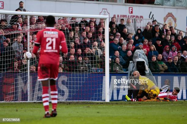 goal of Dodi Lukebakio midfielder of Sporting Charleroi pictured during the Jupiler Pro League match between Royal Antwerp and R Charleroi SC at the...