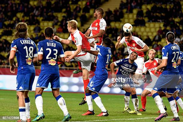 Goal of Guido Carrillo of Monaco during the Ligue 1 match between AS Monaco and SC Bastia at Louis II Stadium on December 3 2016 in Monaco Monaco