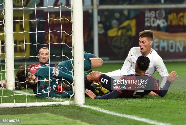 Goal opportunity for Patrik Schick during the Serie A match between Genoa CFC and AS Roma at Stadio Luigi Ferraris on November 26 2017 in Genoa Italy
