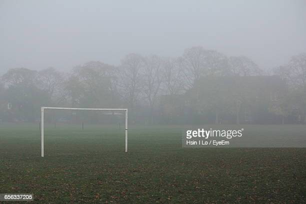 Goal Post On Playground In Foggy Weather