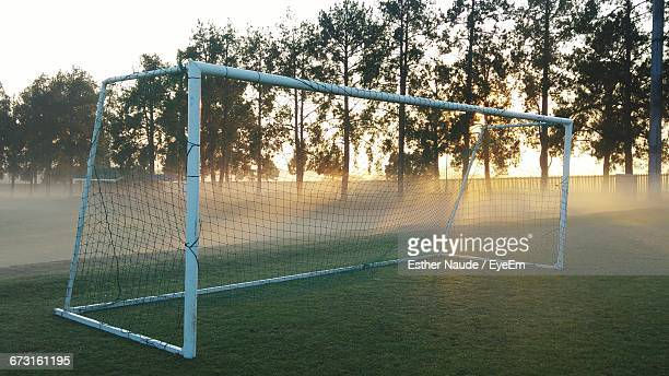 goal post on soccer field during sunrise - goal post stock photos and pictures