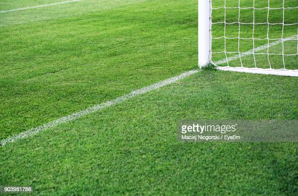 goal post on soccer field - goal post stock photos and pictures