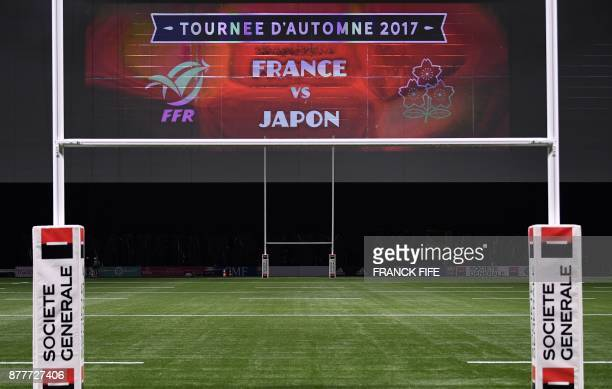 Goal posts are pictured at the U Arena in Nanterre near Paris on November 23 two days ahead of a rugby union test match between France and Japan /...