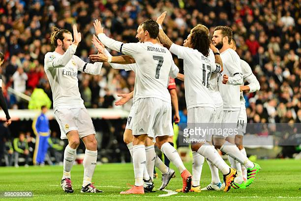 Goal Real Madrid's French Karim Benzema during Spanish Liga football match Real Madrid vs Sevilla at Santiago Bernabeu stadium in Madrid on March 20...