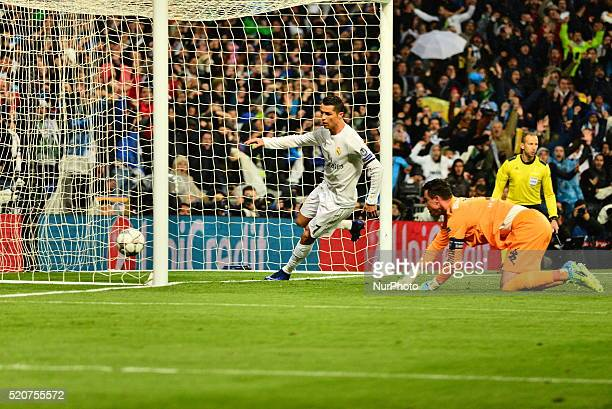 Goal Real Madrid's Portuguese Cristiano Ronaldo in action during Champions League football match Real Madrid vs Wolfsburg at Santiago Bernabeu...