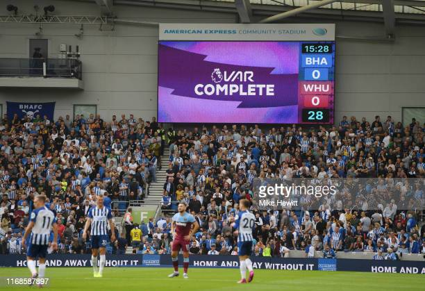 Goal scored by Leondro Trossard of Brighton and Hove Albion is checked and later disallowed following a VAR check during the Premier League match...