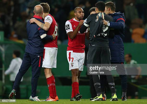 Goal scorer Braga's forward Wilson Eduardo from Portugal celebrates with teammate Braga's goalkeeper Matheus Magalhaes from Brazil the victory at the...