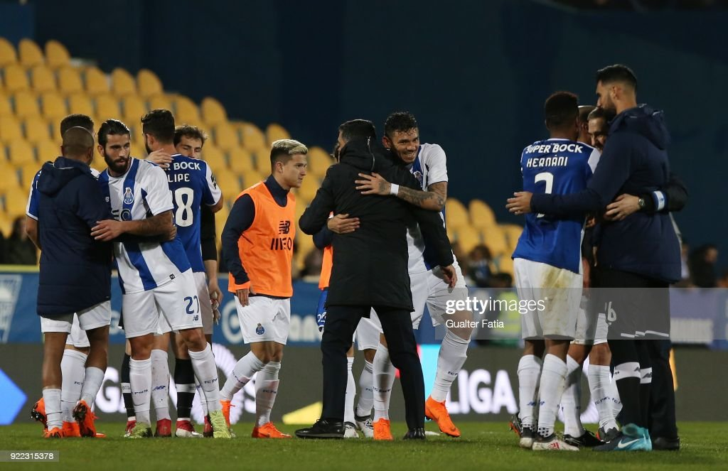 Goal scorer FC Porto forward Tiquinho Soares from Brazil celebrates the victory with FC Porto head coach Sergio Conceicao from Portugal at the end of the Primeira Liga match between GD Estoril Praia and FC Porto at Estadio Antonio Coimbra da Mota on February 21, 2018 in Estoril, Portugal.