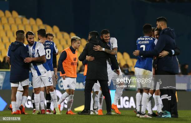 Goal scorer FC Porto forward Tiquinho Soares from Brazil celebrates the victory with FC Porto head coach Sergio Conceicao from Portugal at the end of...