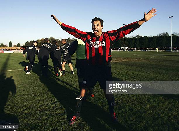 Goal scorer Ian Cambridge of Histon celebrates at the final whistle after their 20 win over Shrewsbury Town during the FA Cup first round match...