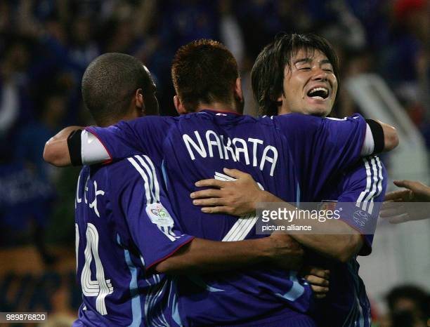 World Cup Group Match preliminary round June 22nd 2006 0 goal scorer Kejii Tamada is celebrating with Alex and Hidetoshi Nakata Photo Press photo...