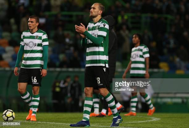 Goal scorer Sporting CP forward Bas Dost from Holland celebrate the victory with teammates at the end of the Primeira Liga match between Sporting CP...