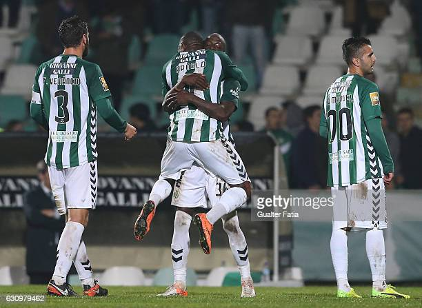 Goal Scorer Vitoria de Setubal's forward Edinho celebrates with teammates the victory at the end of the Portuguese League Cup match between Vitoria...