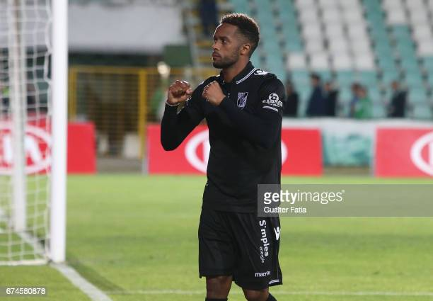 Goal scorer Vitoria Guimaraes' forward Hernani Fortes celebrates the victory with supporters at the end of the Primeira Liga match between Vitoria...