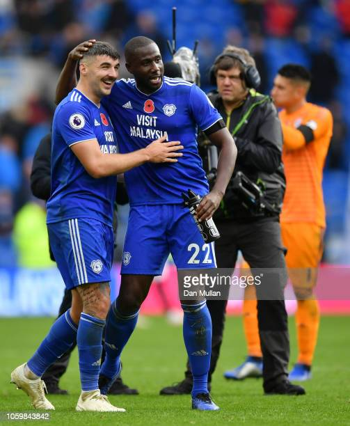 Goal scorers Callum Paterson of Cardiff City and Sol Bamba of Cardiff City celebrate following their sides victory in the Premier League match...