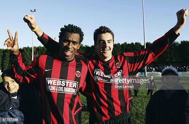 Goal scorers Charles Libam and Ian Cambridge of Histon celebrate their 20 win over Shrewsbury Town during the FA Cup first round match between Histon...