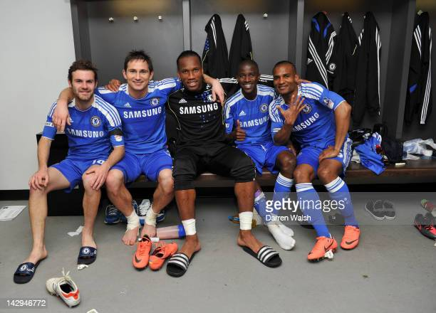 Goal scorers Juan Mata Frank Lampard Didier Drogba Ramires and Florent Malouda of Chelsea celebrate in the changing room after the FA Cup with...