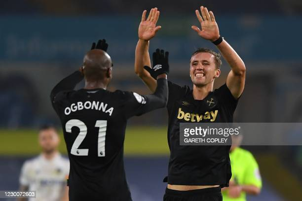 Goal scorers West Ham United's Italian defender Angelo Ogbonna and West Ham United's Czech midfielder Tomas Soucek celebrate after the English...