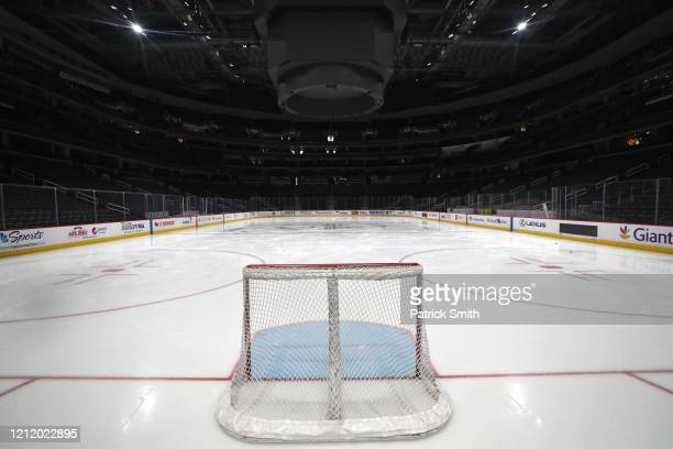 A goal sits on the empty ice prior to the Detroit Red Wings playing against the Washington Capitals at Capital One Arena on March 12 2020 in...