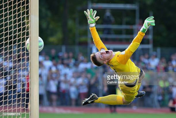 Goal to 06 for Gladbach Marcel Pfaar goalkeeper of BSC Hastedt misses the ball during the DFB Cup first round match between BSC Hastedt and Borussia...