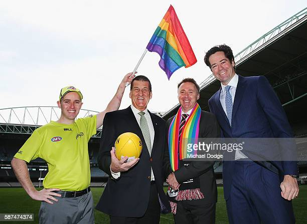 Goal umpire Michael Craig with the Pride Game rainbow goal umpire flag beyondblue Chairman Jeff Kennett St Kilda CEO Matt Finnis and beyondblue and...