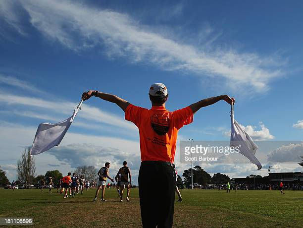 Goal umpire signals a goal player during the Yarra Valley Mountain District Football League Division 1 Seniors Preliminary Final between Wandin and...