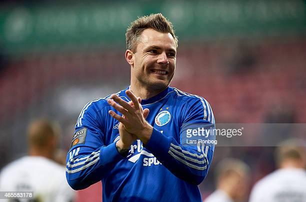 Goaleeper Stephan Andersen of FC Copenhagen celebrates after the Danish Superliga match between FC Copenhagen and Brondby IF at Telia Parken Stadium...