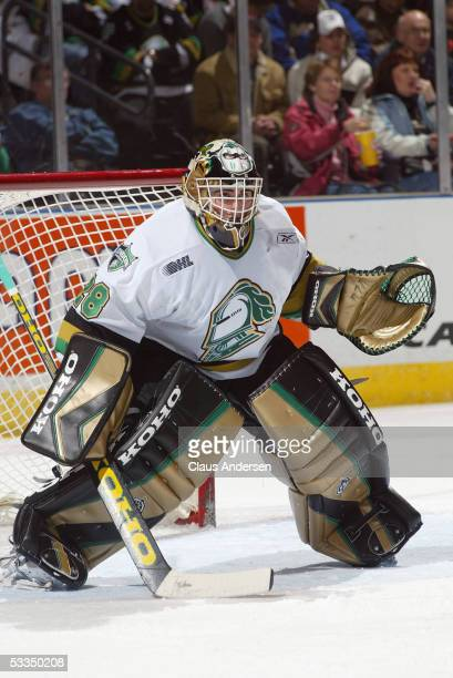 Goalie Adam Dennis of the London Knights in net during a Ontario Hockey League game against the Kingston Frontenacs at Jon Labatt Centre on January...