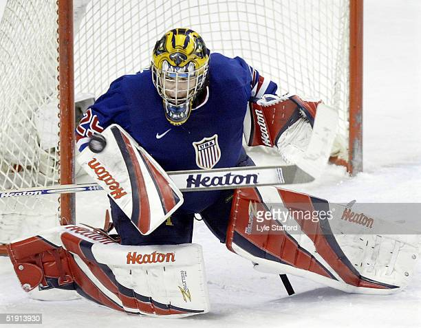 Goalie Al Montoya of the USA makes a save during their bronze medal game against the Czech Republic at the World Junior Hockey Championships on...