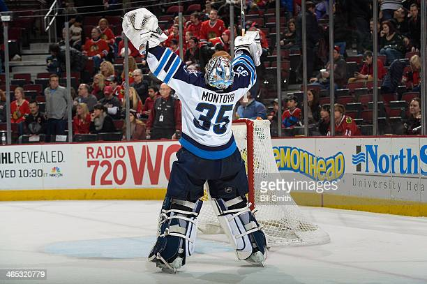 Goalie Al Montoya of the Winnipeg Jets celebrates after the Jets defeated the Chicago Blackhawks 31 during the NHL game on January 26 2014 at the...