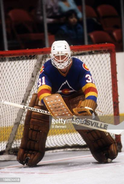 Goalie Al Smith of the Colorado Rockies defends the net during an NHL game against the New York Rangers on March 11 1981 at the Madison Square Garden...