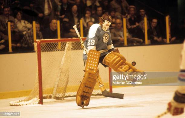 Goalie Al Smith of the Pittsburgh Penguins makes the save during an NHL game against the New York Rangers circa 1971 at the Madison Square Garden in...