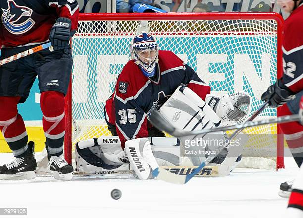 Goalie Alex Auld of the Vancouver Canucks in net during the game against the Carolina Hurricanes on December 14, 2003 at General Motors Place in...