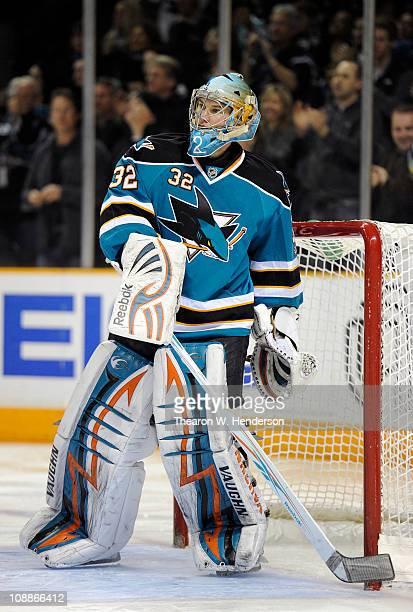 Goalie Alex Stalock of the San Jose Sharks defends his goal against the Phoenix Coyotes during an NHL hockey game at the HP Pavilion on February 1...