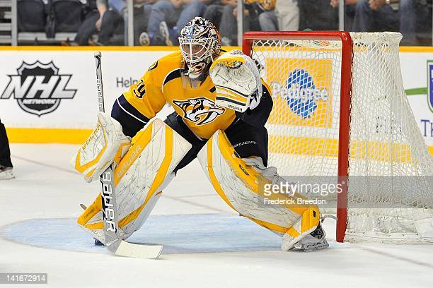 Goalie Anders Lindback of the Nashville Predators skates against the Edmonton Oilers at the Bridgestone Arena on March 20 2012 in Nashville Tennessee