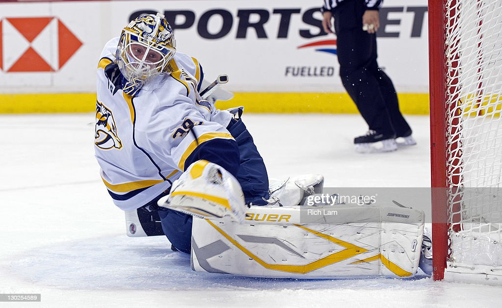 Goalie Anders Lindback Of The Nashville Predators Stretches Out To