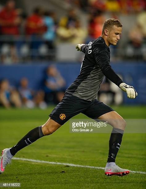 Goalie Anders Lindegaard of Manchester United in action against Club America during the International Champions Cup at CenturyLink Field on July 17...