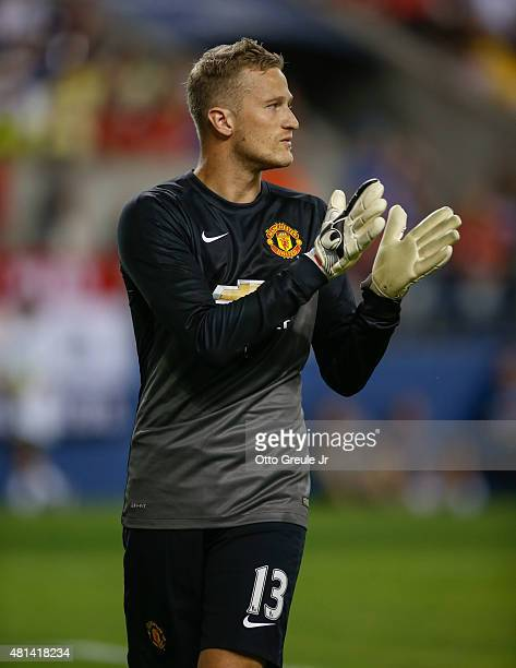 Goalie Anders Lindegaard of Manchester United looks on against Club America during the International Champions Cup at CenturyLink Field on July 17...