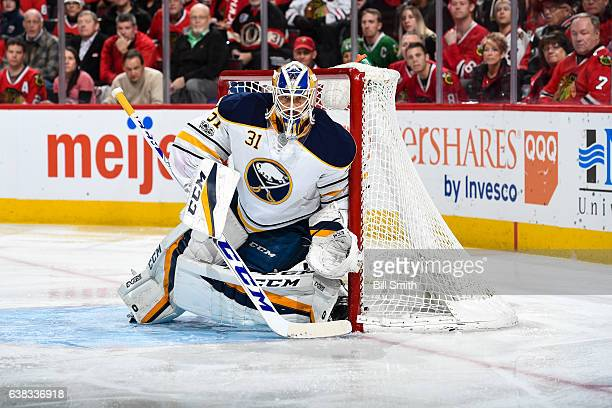 Goalie Anders Nilsson of the Buffalo Sabres guards the net in the first period against the Chicago Blackhawks at the United Center on January 5 2017...