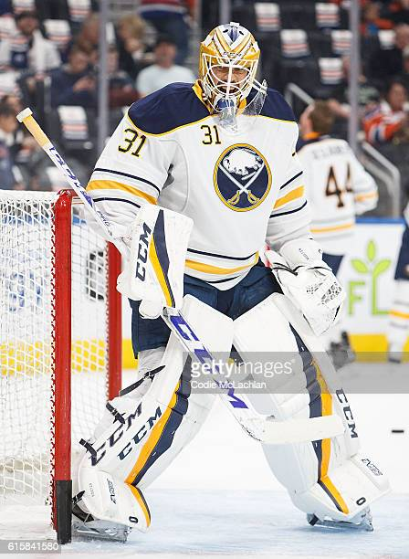 Goalie Anders Nilsson of the Buffalo Sabres warms up before the game against the Edmonton Oilers on October 16 2016 at Rogers Place in Edmonton...