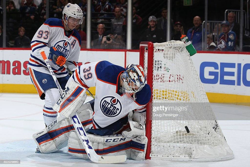 Goalie Anders Nilsson #39 of the Edmonton Oilers defends the goal against the Colorado Avalanche at Pepsi Center on December 19, 2015 in Denver, Colorado. The Avalanche defeated the Oilers 5-1.
