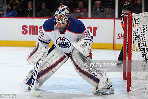 Goalie Anders Nilsson of the Edmonton Oilers defends the goal against the Colorado Avalanche at Pepsi Center on December 19 2015 in Denver Colorado...