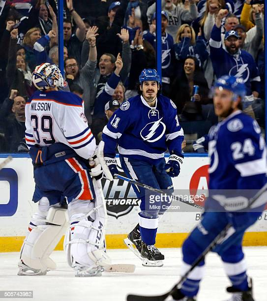 Goalie Anders Nilsson of the Edmonton Oilers reacts after a goal by Brian Boyle of the Tampa Bay Lightning during the third period at the Amalie...