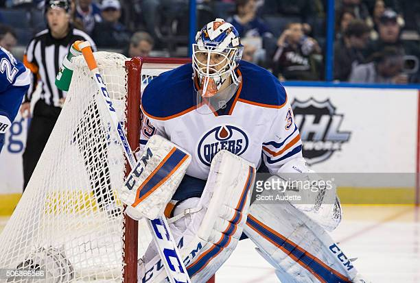 Goalie Anders Nilsson of the Edmonton Oilers skates against the Tampa Bay Lightning at the Amalie Arena on January 19 2016 in Tampa Florida