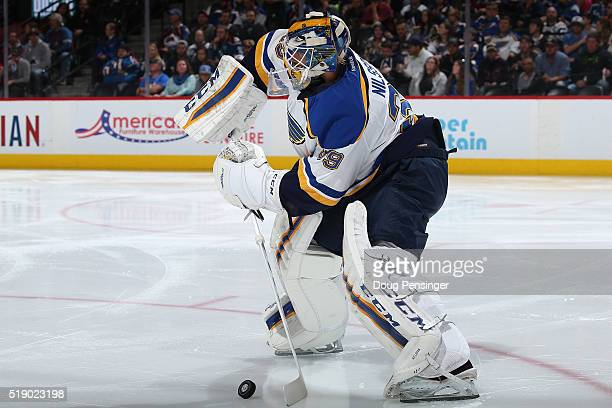 Goalie Anders Nilsson of the St Louis Blues clears the puck against the Colorado Avalanche at Pepsi Center on April 3 2016 in Denver Colorado The...