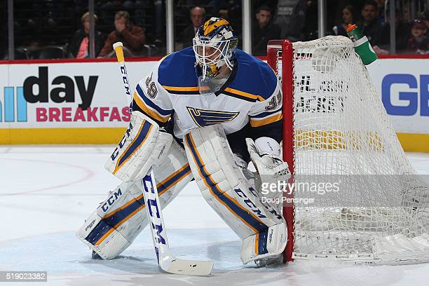 Goalie Anders Nilsson of the St Louis Blues defends the goal against the Colorado Avalanche at Pepsi Center on April 3 2016 in Denver Colorado The...