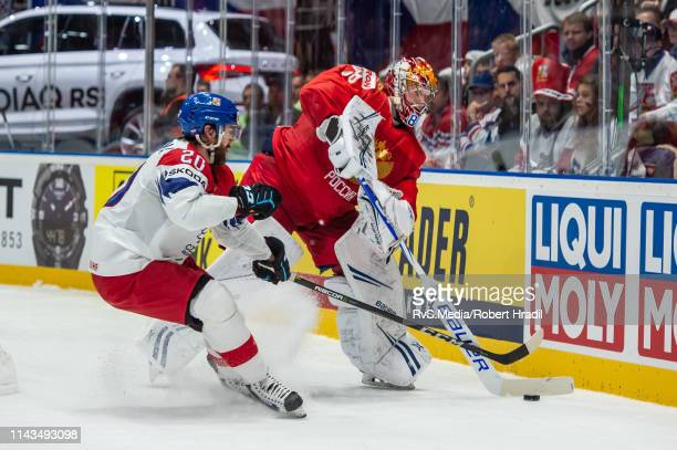 Goalie Andrei Vasilevski makes a stick save during the 2019 IIHF Ice Hockey World Championship Slovakia group game between Russia and Czech Republic...