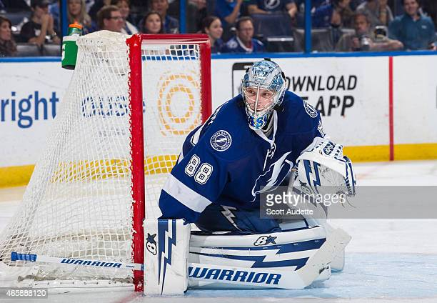 Goalie Andrei Vasilevskiy of the Tampa Bay Lightning against of the Buffalo Sabres during the second period at the Amalie Arena on March 3 2015 in...